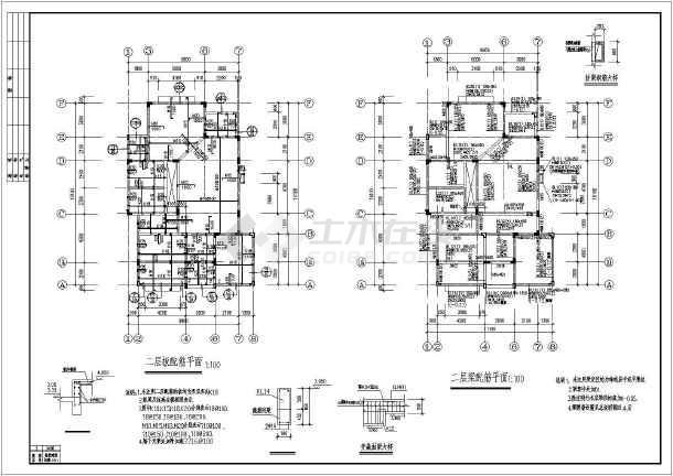 坡屋顶别墅建筑及结构设计施工图