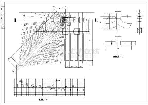仿唐建筑设计混凝土仿木栏杆施工图唐风建筑设计牌坊建筑结构施工图