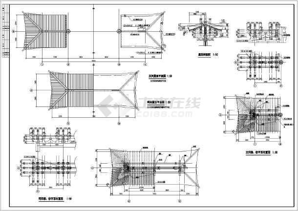 某地区仿唐牌坊混凝土建筑设计施工图_cad图图纸烟冲废气图片