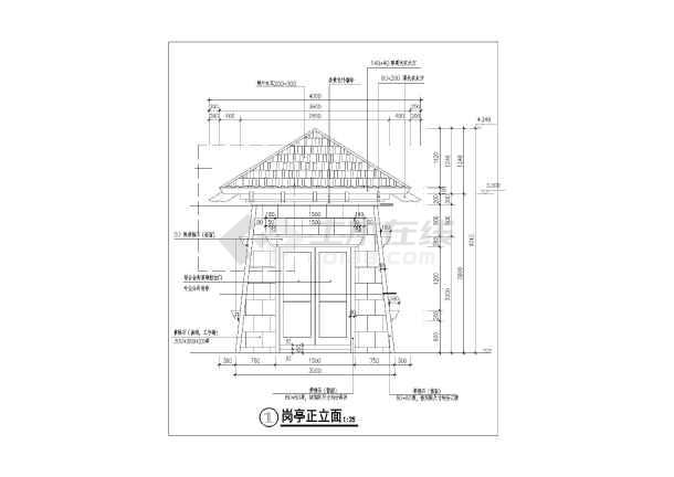 某地区一欧式砖木混合结构岗亭建筑结构施工图