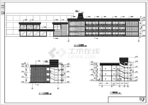 某旅游景区三层框架结构宾馆楼建筑设计施工图