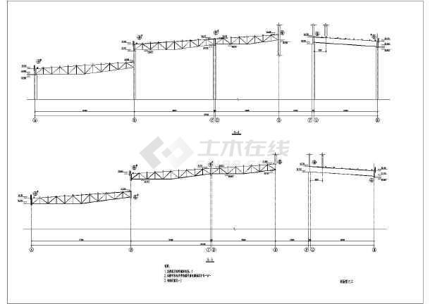 某地多跨桁架结构钢屋架结构施工图