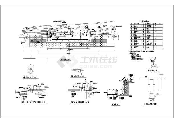 某水利工程图纸中庭设计施工图(初步设计)_cacad模型重合瀑布图片