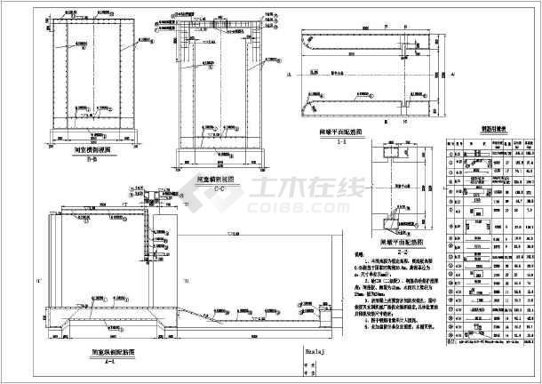 某小型排水闸图纸及图纸含量的结算_cad钢筋结构配筋图纸如何审核设计图片