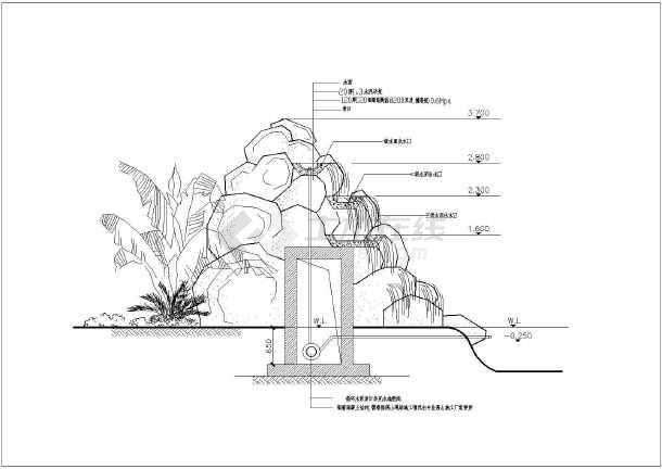 景观小品及树木线稿