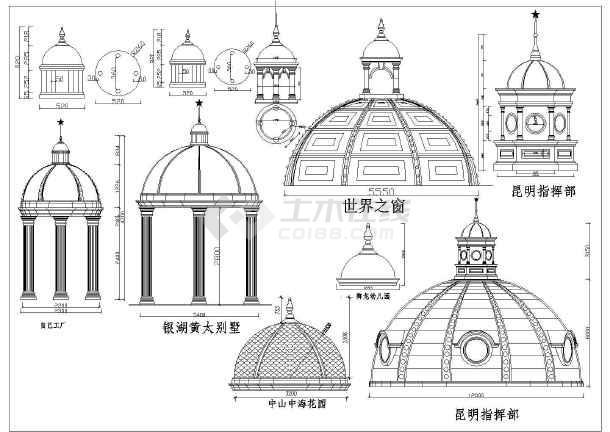 各种类型欧式柱及柱帽样式构造大样图