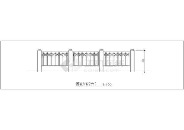 围墙标准段,前围墙立面图