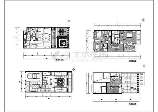 某欧式三层别墅带阁楼车库装饰施工图