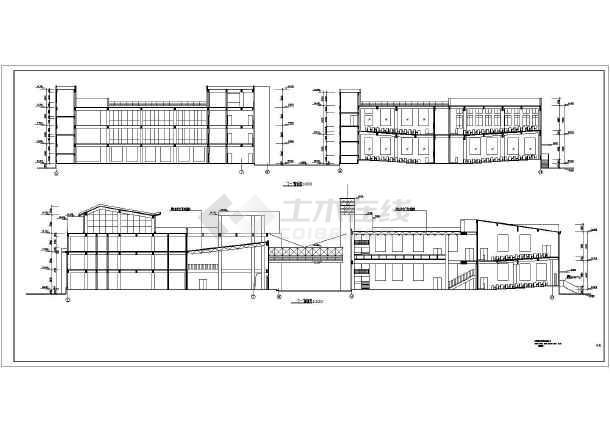 昆明某学院四层框架结构图书馆建筑设计施工图