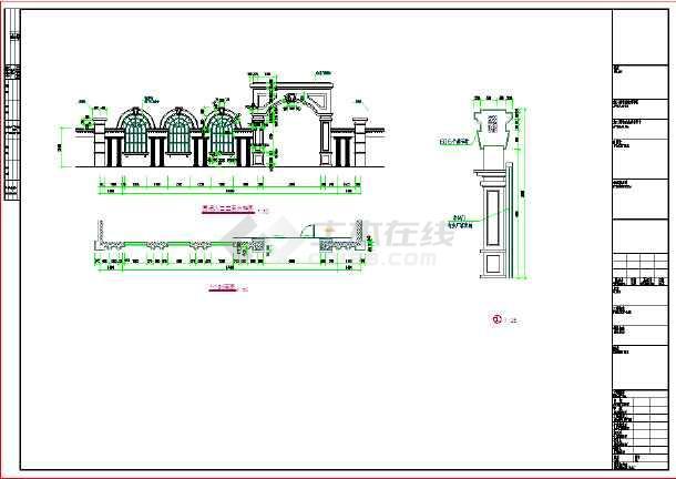 【江苏】景观小品欧式大门设计施工图