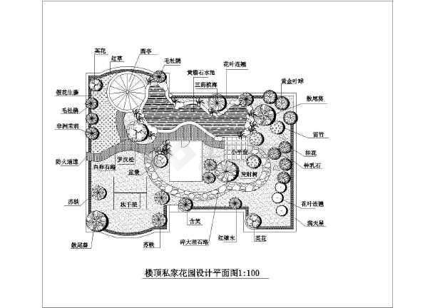 某农村私家别墅楼顶花园设计平面图图片