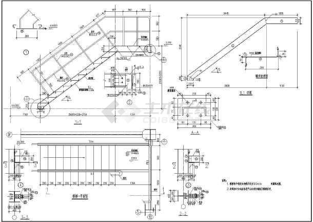 某钢楼梯中钢结构框架结构设计施工图_cad图鱼屋三级图纸图片