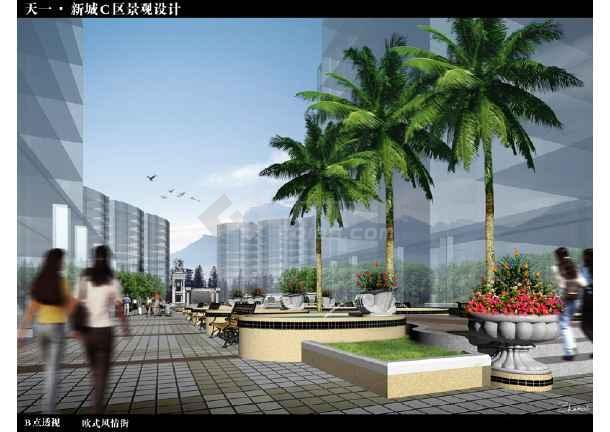 中心花园效果,欧式景亭及帆拱柱廊,休闲娱乐区,休闲运动区,欧式风情街