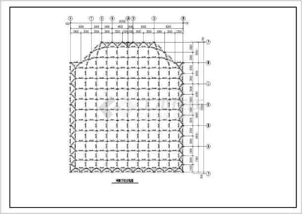 建筑结构图 网架结构图纸 网架穹顶 某地螺栓球节点中型网架结构设计