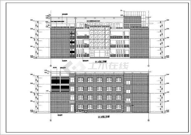 四层平面图,屋顶平面图,立面图,剖面图,楼梯间大样,卫生间大样,教室