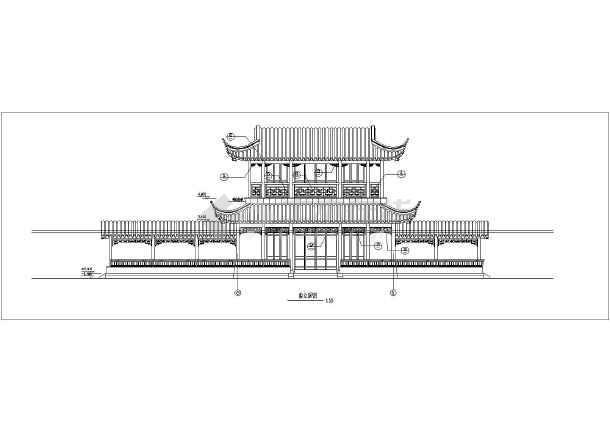 某地上二层框架结构古建筑结构设计图