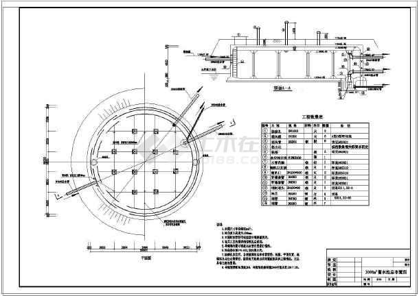 某处1000方圆形蓄水池施工图v圆形_cad图纸下格伯cad图片