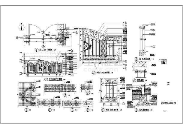 图纸 园林设计图  小品及配套设施(小区cad平面图下载)  围墙大门设计