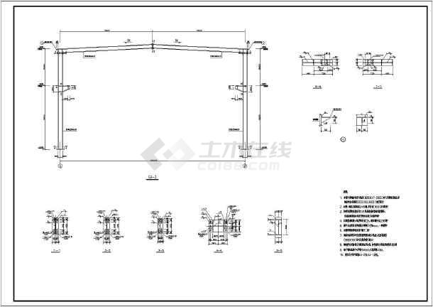 某地18米x96米门式钢架结构独立基础带吊车厂区机修车间钢结构施工图