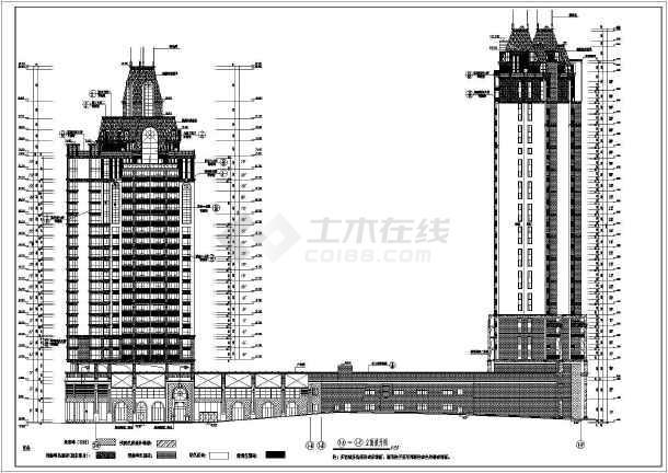 某地剪力墙结构欧式百米点式高层住宅楼建筑施工图
