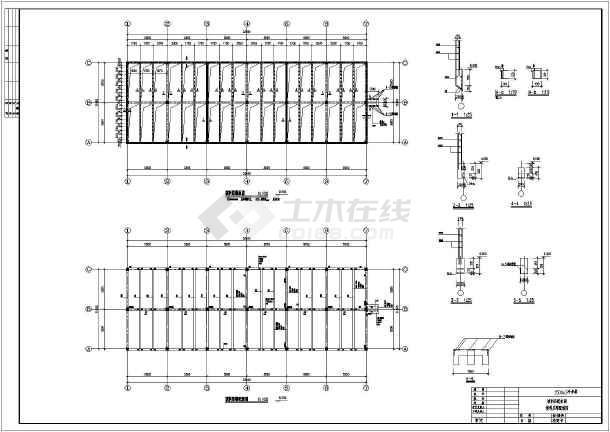 某地1500m3/3冷却塔结构平面图配筋图模板图