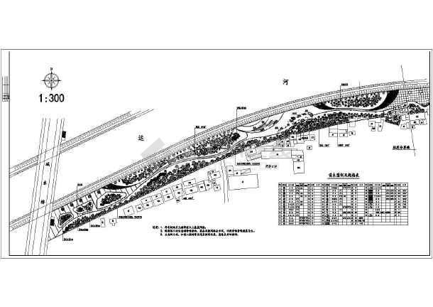 某滨河绿化带植物种植及铺装平面图