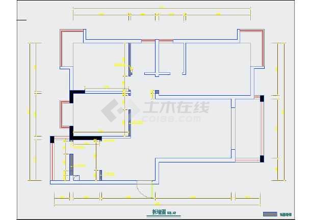 某三室两厅装修设计cad图纸(附果图)图片2