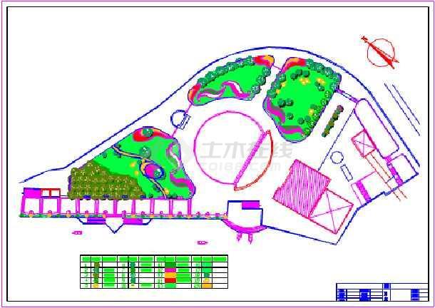 某索道广场绿化详细建筑设计平面图