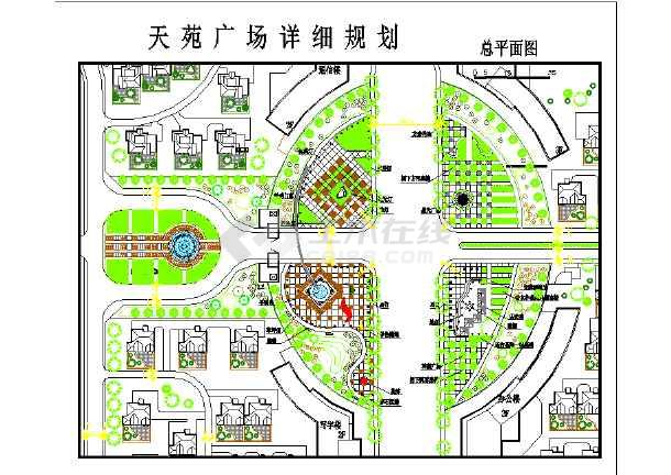某休闲娱乐区天苑广场详细规划总平面图