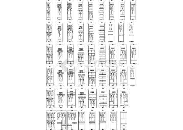 包括1400~1900宽内结构,2000~3000宽内结构,2200标准推拉门衣柜,2400