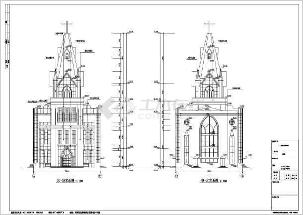 某地3层哥特式教堂建筑设计施工图纸