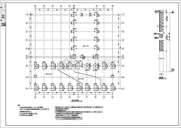 某两层车间混凝土排架柱钢结构设计施工图纸