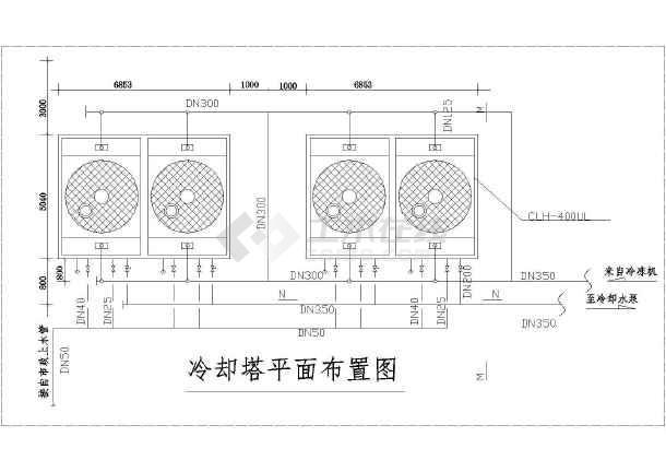 【江苏】某冷却塔平面剖面布置大样图图片2