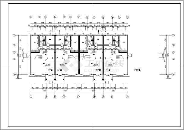 某地b型三户联排三层别墅建筑设计图