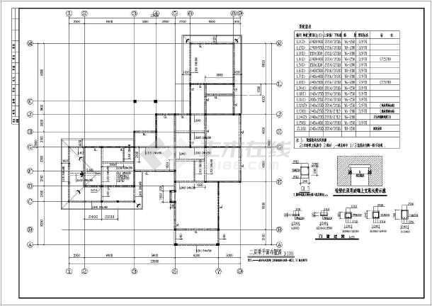 本图纸为:某地两层砌体别墅结构设计施工图纸,内容包括:基础平面图