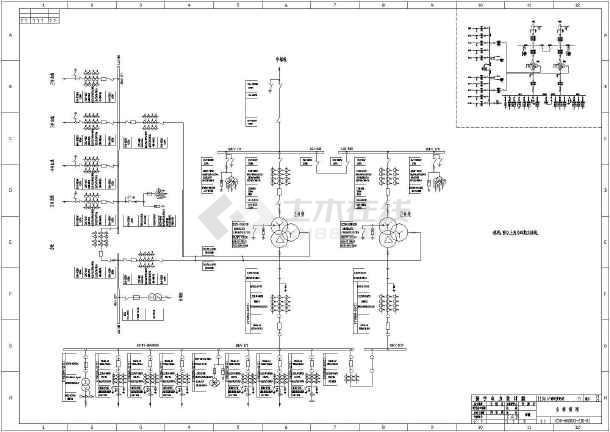 110kv南站变电站电气主接线cad设计图图片1