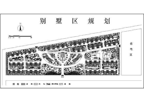 某别墅居住区的植物配置详细平面图