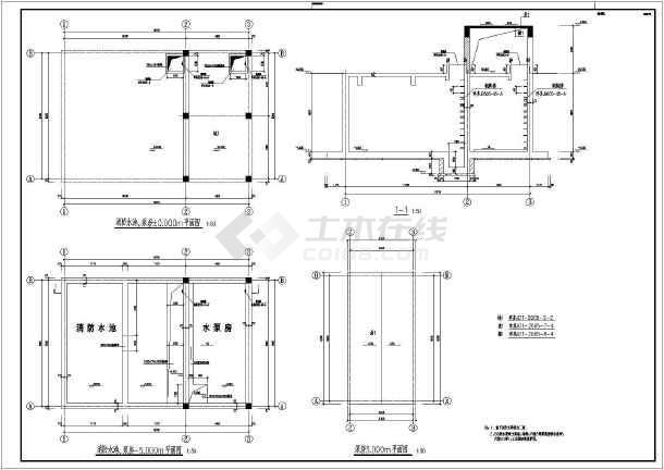某公司厂区消防水池结构设计施工图图片1