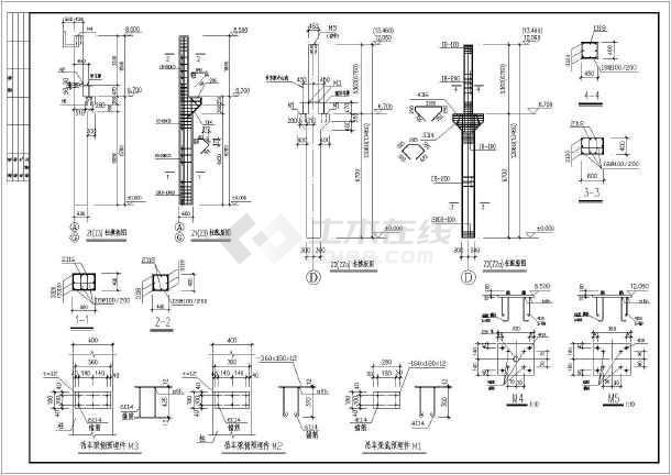 某地区砼柱双弧厂房钢管桁架图纸施工图_cad结构锁定cad块下载图片