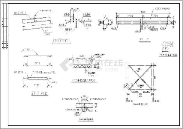 某地区砼柱双弧局部厂房结构钢管施工图_cad桁架不变cad下载数值后图纸缩放图片
