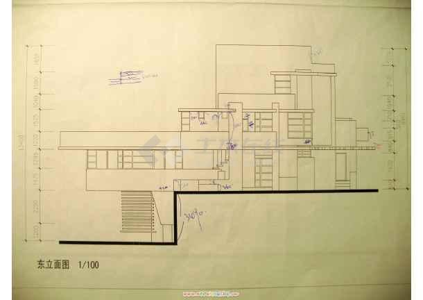 赖特流水别墅立面图