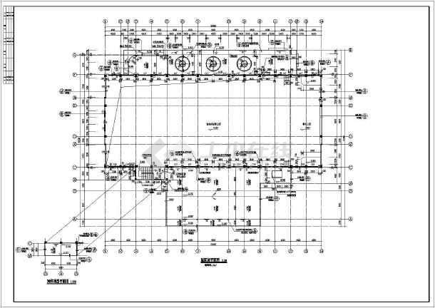 结构综合楼建筑设计施工图,首层为餐厅,厨房,二层为室内运动场兼礼堂