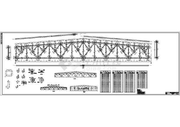 某36米跨钢图纸代表结构设计施工图_cad图纸格栅灯p1桁架屋架图片