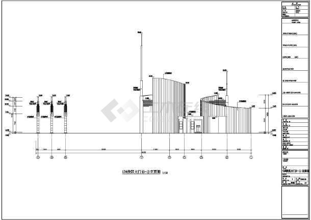 某大学单层框架结构大门建筑设计施工图