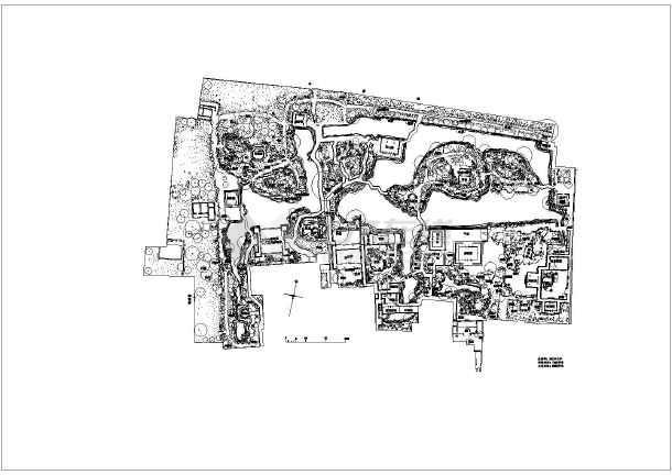 手绘园林廊架剖面图