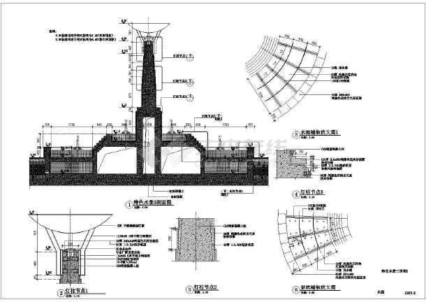 图纸 园林设计图 小品及配套设施 水景喷泉设计图 某圆形欧式带景观