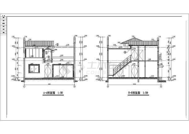 某地区两层仿古四合院建筑设计方案图