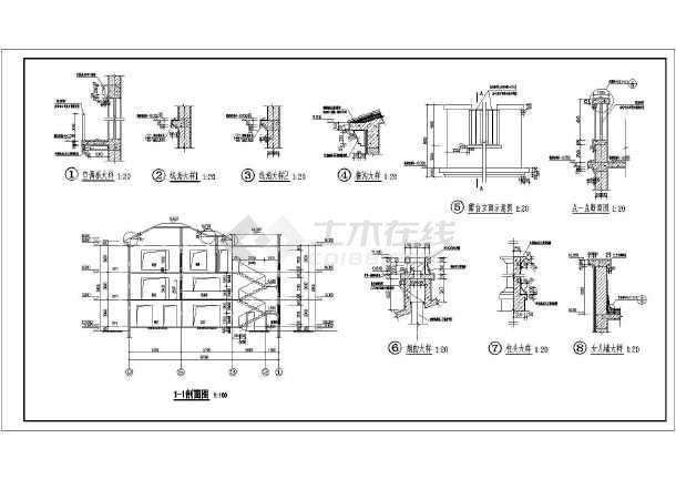 湖南省三层砖混结构独栋别墅施工图