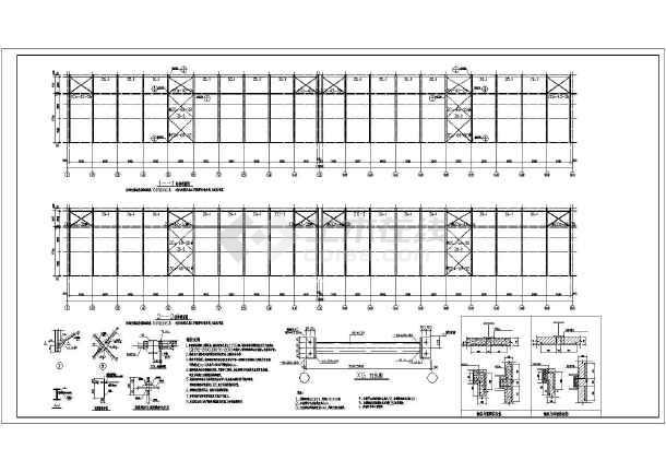 某地72米x120米多跨混凝土排架结构厂房钢结构施工图