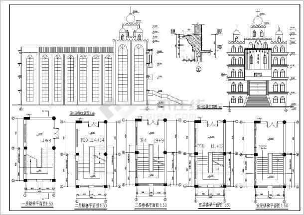 古建筑设计 其他类型古建及小品建筑施工图 某地六层框架结构教堂建筑